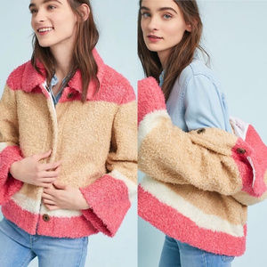 NWT Anthropologie Colorblock Sherpa Jacket